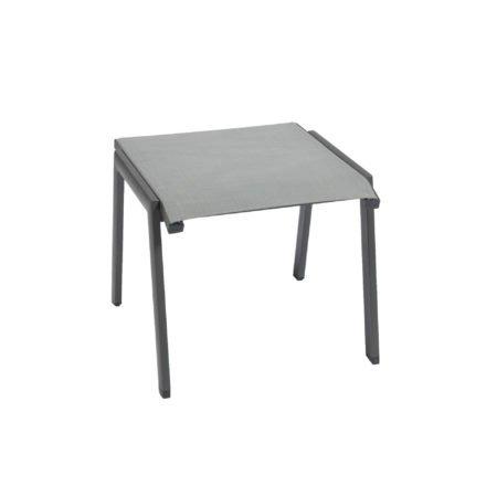 "Jati&Kebon ""Tinos/Rhodos"" Gartenhocker, Aluminium eisengrau, Textilgewebe silbergrau"