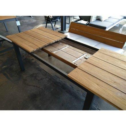 """Ausziehtisch """"Salerno"""" von Jati&Kebon, Gestell Aluminium eisengrau, Tischplatte Teakholz grob gebürstet, Größe: 170/270x90 cm"""