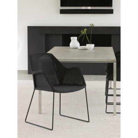 """Gartenstuhl """"Breeze"""" von Cane-line, Gestell Stahl schwarz, Sitzfläche Polyrattan schwarz"""