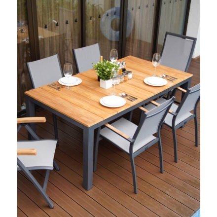 """Home Islands Gartentisch """"Sumatra"""", Gestell Aluminium charcoal, Tischplatte Teakholz gebürstet, 180 x 100 cm"""