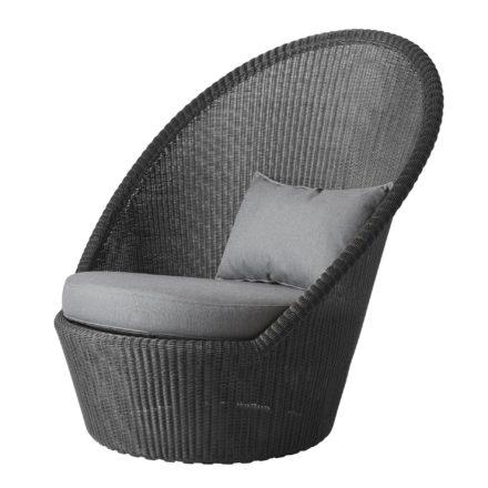 """Sunchair """"Kingston"""", Polyrattan graphit mit Kissen grau, von Cane-line"""