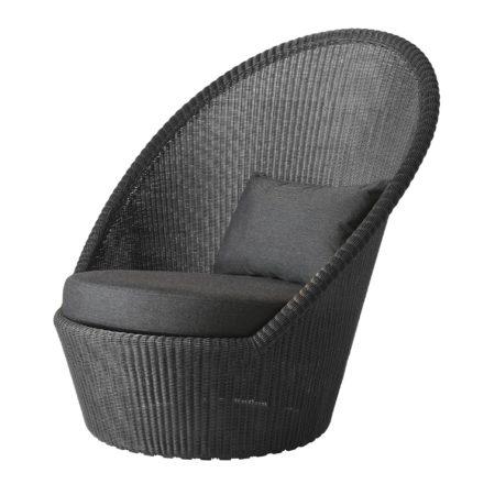 """Sunchair """"Kingston"""", Polyrattan graphit mit Kissen schwarz, von Cane-line"""