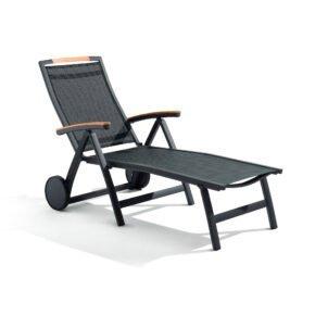 "Sieger ""Catena"" Sonnenliege, Gestell Aluminium eisengrau, Sitzfläche Textilgewebe grau, Armlehnen Teakholz"