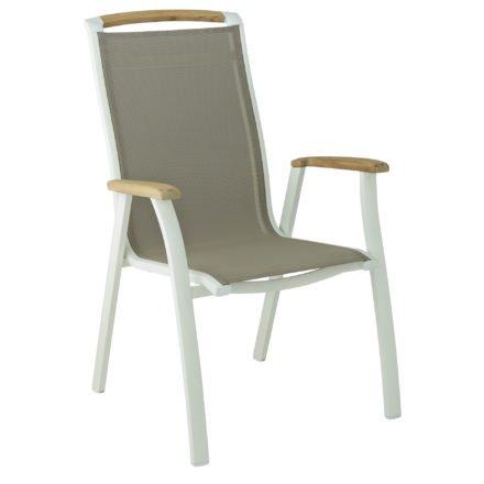 """Kettler Stapelsessel """"Memphis"""", Gestell Aluminium weiß, Sitzfläche Textilgewebe beach-grey-, Teakholz-Akzente"""