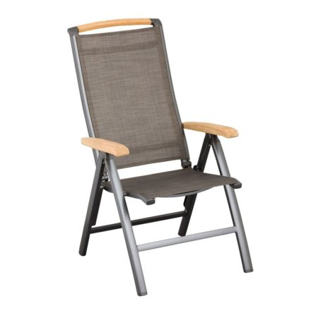 "Kettler Klappsessel ""Memphis"", Gestell Aluminium anthrazit, Sitzfläche Textilgewebe bronze, Teakholz-Akzente"