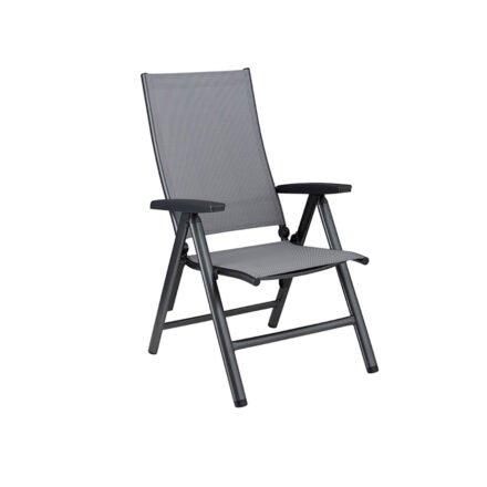 """Kettler """"Cirrus"""" Klappsessel/Verstellsessel, Gestell Aluminium anthrazit, Sitz Textilgewebe anthrazit-grau, Armlehnen Kunststoff"""