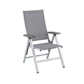 "Kettler ""Cirrus"" Klappsessel/Verstellsessel, Gestell Aluminium silber, Sitz Textilgewebe anthrazit-grau, Armlehnen Kunststoff"