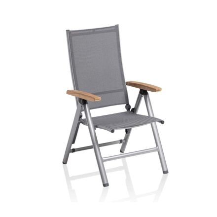 "Kettler ""Cirrus"" Klappsessel/Verstellsessel, Gestell Aluminium silber, Sitz Textilgewebe anthrazit-grau, Armlehnen Teakholz"