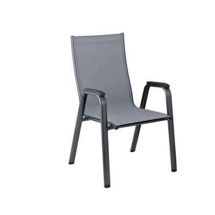 "Kettler ""Cirrus"" Stapelsessel, Gestell Aluminium anthrazit, Sitz Textilgewebe anthrazit-grau, Armlehnen Kunststoff"