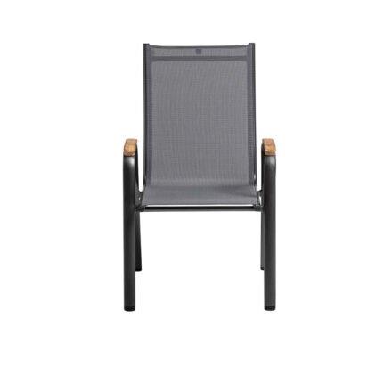 "Kettler ""Cirrus"" Stapelsessel, Gestell Aluminium anthrazit, Sitz Textilgewebe anthrazit-grau, Armlehnen Teak"