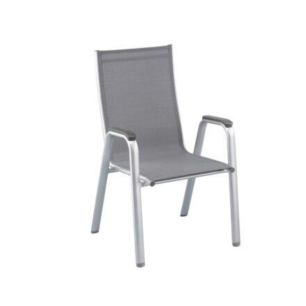 "Kettler ""Cirrus"" Stapelsessel, Gestell Aluminium silber, Sitz Textilgewebe anthrazit-grau, Armlehnen Kunststoff"