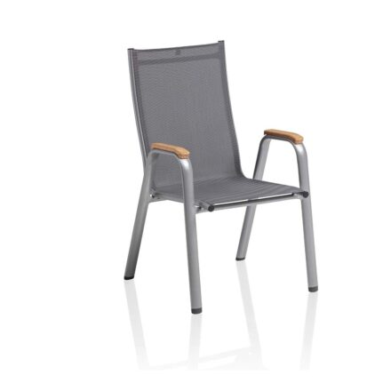 "Kettler ""Cirrus"" Stapelsessel, Gestell Aluminium silber, Sitz Textilgewebe anthrazit-grau, Armlehnen Teak"