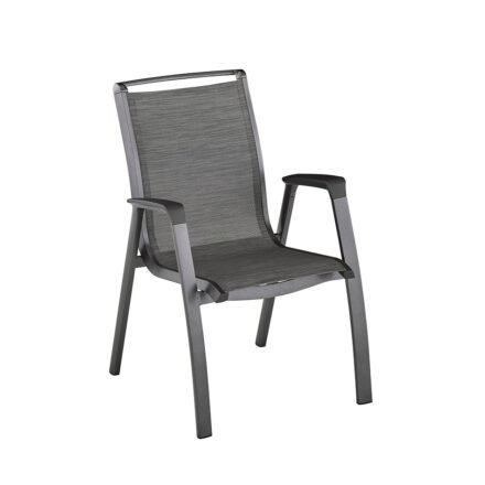 "Kettler ""Forma II"" Stapelsessel, Gestell Aluminium anthrazit, Sitzfläche Textilgewebe graphit"