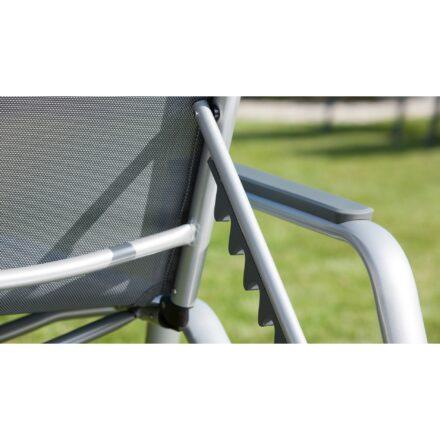 """Kettler """"Cirrus"""" Stapelliege, Gestell Aluminium silber, Bespannung Textilgewebe anthrazit-grau"""