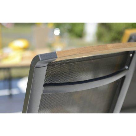 "Kettler Hochlehner ""Memphis"", Gestell Aluminium anthrazit, Sitzfläche Textilgewebe bronze, Teakholz-Detail"