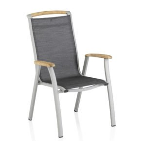 """Kettler Stapelsessel """"Memphis"""", Gestell Aluminium platinfarben, Sitzfläche Textilgewebe graphit, Teakholz-Akzente"""