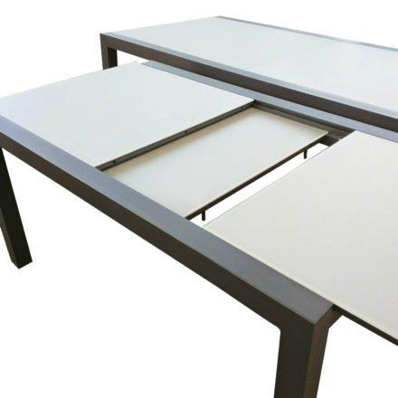 """Jati&Kebon Gartentisch """"Livorno"""", Ausziehtisch, Aluminium anthrazit, Tischplatte Glas"""
