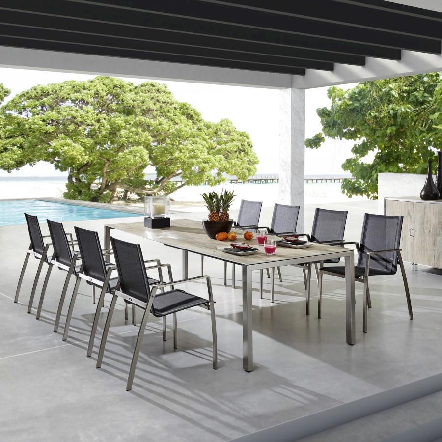 zumsteg basso gartentisch edelstahl keramik ausziehbar plattenst rke 7 mm. Black Bedroom Furniture Sets. Home Design Ideas