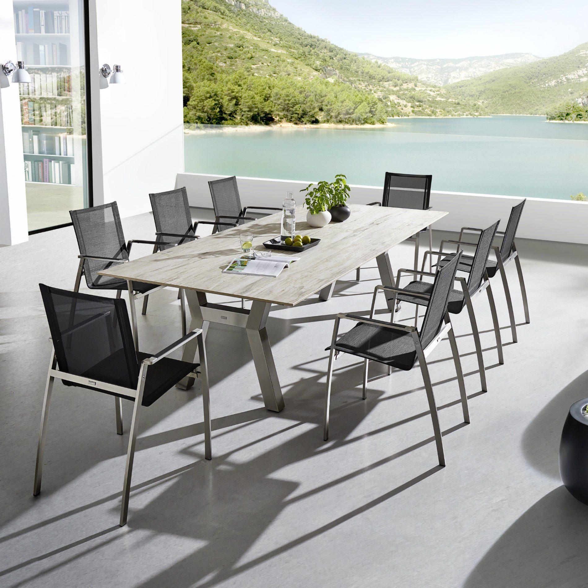 zumsteg gigante gartentisch edelstahl keramik. Black Bedroom Furniture Sets. Home Design Ideas