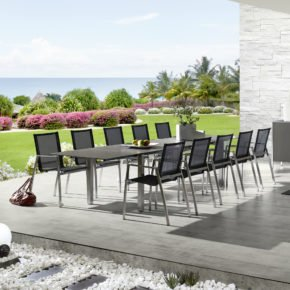 Gartentisch Spezia, ausziebarer Keramiktisch von Zumsteg, Zement dunkel, ausgezogen