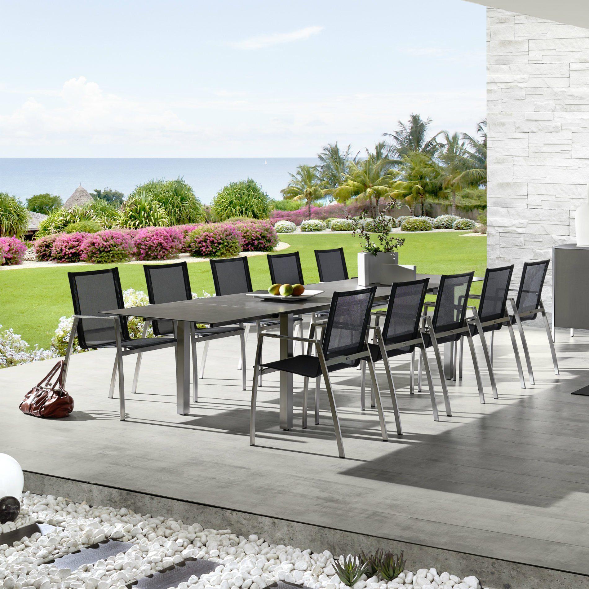 zumsteg spezia gartentisch edelstahl granit ausziehbar. Black Bedroom Furniture Sets. Home Design Ideas