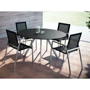 """Gartentisch """"Rotondo"""" von Zumsteg, Gestell aus Edelstahl, Tischplatte Granit"""