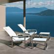 Relaxsessel Ninix 60 mit Hocker Ninix F von Royal Botania, Edelstahl, Textilgewebe weiss