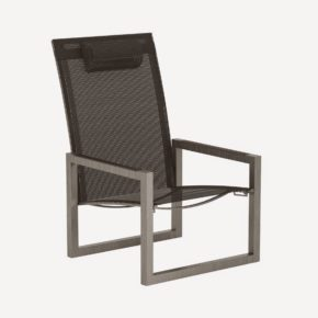 Gartenstuhl Ninix 60, Relaxsessel von Royal Botania, Edelstahl, Textilgewebe schwarz