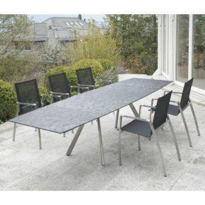 Gartentisch Romana, ausziehbarer Granittisch von Zumsteg, Silver Shadow