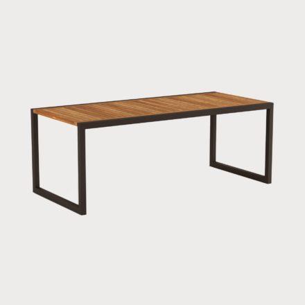 Gartentisch Ninix 200 von Royal Botania, Tischplatte Teakholz, Gestell schwarz