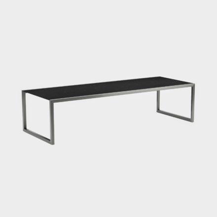 Gartentisch Ninix 300 von Royal Botania, Tischplatte Keramik schwarz, Gestell Edelstahl