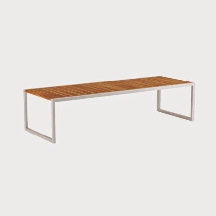 Gartentisch Ninix 300 von Royal Botania, Tischplatte Teakholz, Gestell weiss