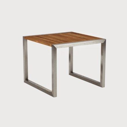 Gartentisch Ninix 90 von Royal Botania, Tischplatte Teakholz und Gestell Edelstahl