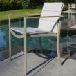 Gartenstuhl O-Zon 55 von Royal Botania, Gestell sand, Textilgewebe pearl grey, Armlehnen Teakholz
