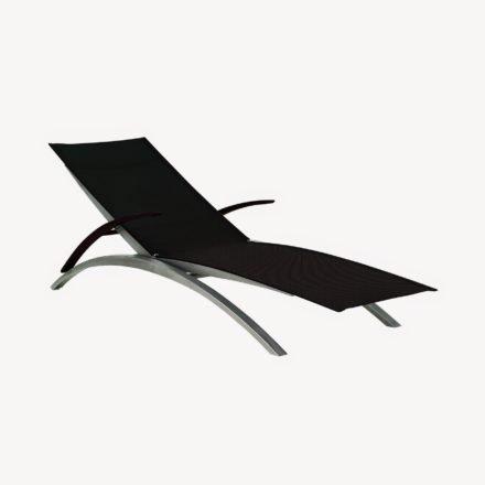 Sonnenliege O-Zon 195T von Royal Botania, Gestell Edelstahl, Textilgewebe schwarz