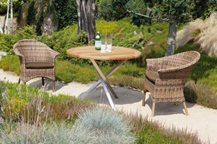 """SonnenPartner Sessel """"Cayman"""" in der Farbe nature-mix und Tisch """"Spectra"""" Ø 100 cm"""