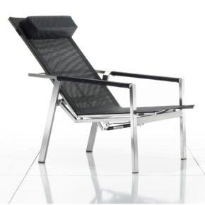 Deckchair Allure von Solpuri, Gestell Edelstahl, Textilgewebe schwarz