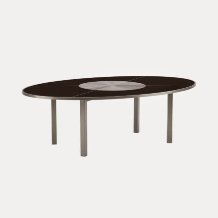 Gartentisch O-Zon 240 von Royal Botania, Gestell und Drehscheibe aus Edelstahl, Keramikplatte schwarz