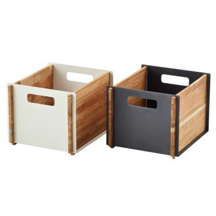 """Aufbewahrungskasten """"Box"""" in weiß und lavagrau von Cane-line"""