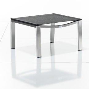 Deckchair-Hocker Allure von Solpuri, Gestell Edelstahl, Textilgewebe schwarz