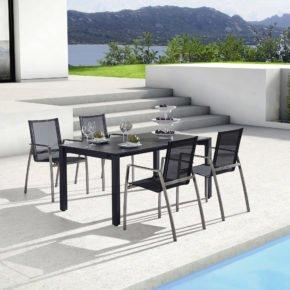Gartentisch Atessa, Keramiktisch von Zumsteg, anthrazit, mit Gartenstuhl Terra