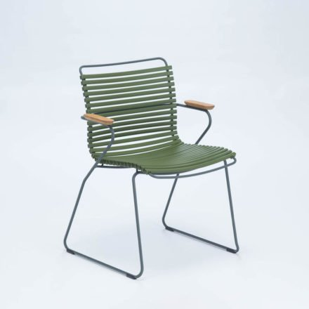 """Houe """"Click"""" Gartenstuhl mit Armlehnen, Farbe olivgrün"""