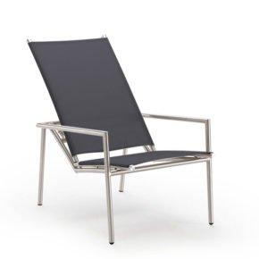 Deck Chair Elegance von Solpuri, Edelstahl und Textilgewebe schwarz