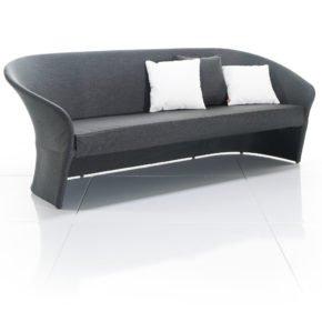Loungesofa Diva, 3-Sitzer von Solpuri aus Aluminium und Leisuretex (anthrazit), mit Sitzpolster und Cocktailkissen