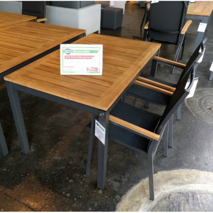 "Gartenmöbel Set ""Mallorca/Rome"", Aluminiumgestell eisengrau, Tischplatte aus Teakholz"