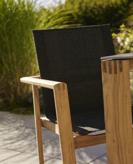 Gartenstuhl mit Gartentisch Safari, beides Solpuri, Teakholz, Stuhlbespannung Leisuretex anthrazit, Tischplatte Keramik