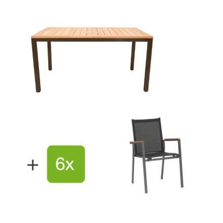 "Gartenmöbel Set ""Mallorca/Rome"", Aluminiumgestell eisengrau, Tischplatte aus Teakholz, Textilen schwarz"