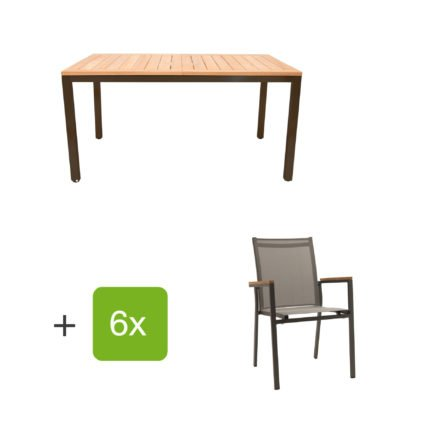 "Gartenmöbel Set ""Mallorca/Rome"", Aluminiumgestell eisengrau, Tischplatte aus Teakholz, Textilen silbergrau"