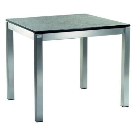 Gartentisch Base Von Solpuri, Edelstahlgestell, Tischplatte Granit Black  Pearl, 95x95 Cm