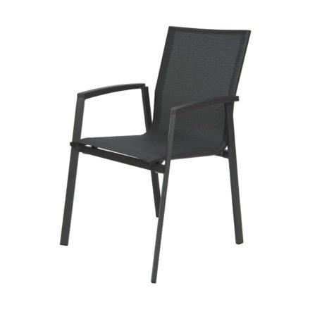 "Stern Stapelsessel ""New Top"", Gestell Aluminium anthrazit, Sitzfläche Textilgewebe karbon, Armlehnen Aluminium anthrazit"